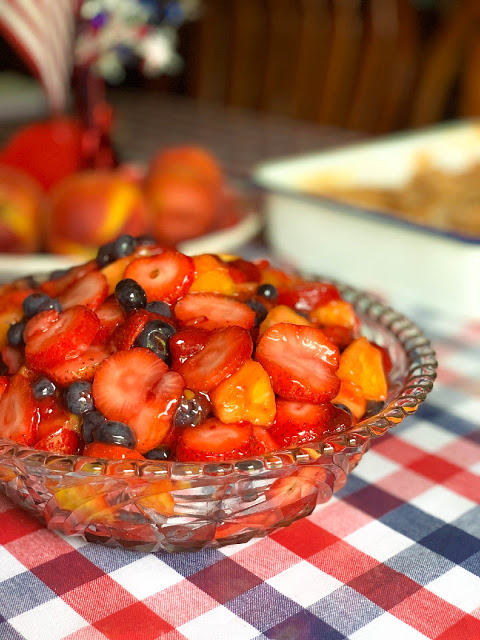 Celebration Fruit Salad Made With A Quick Homemade Strawberry Pie Filling