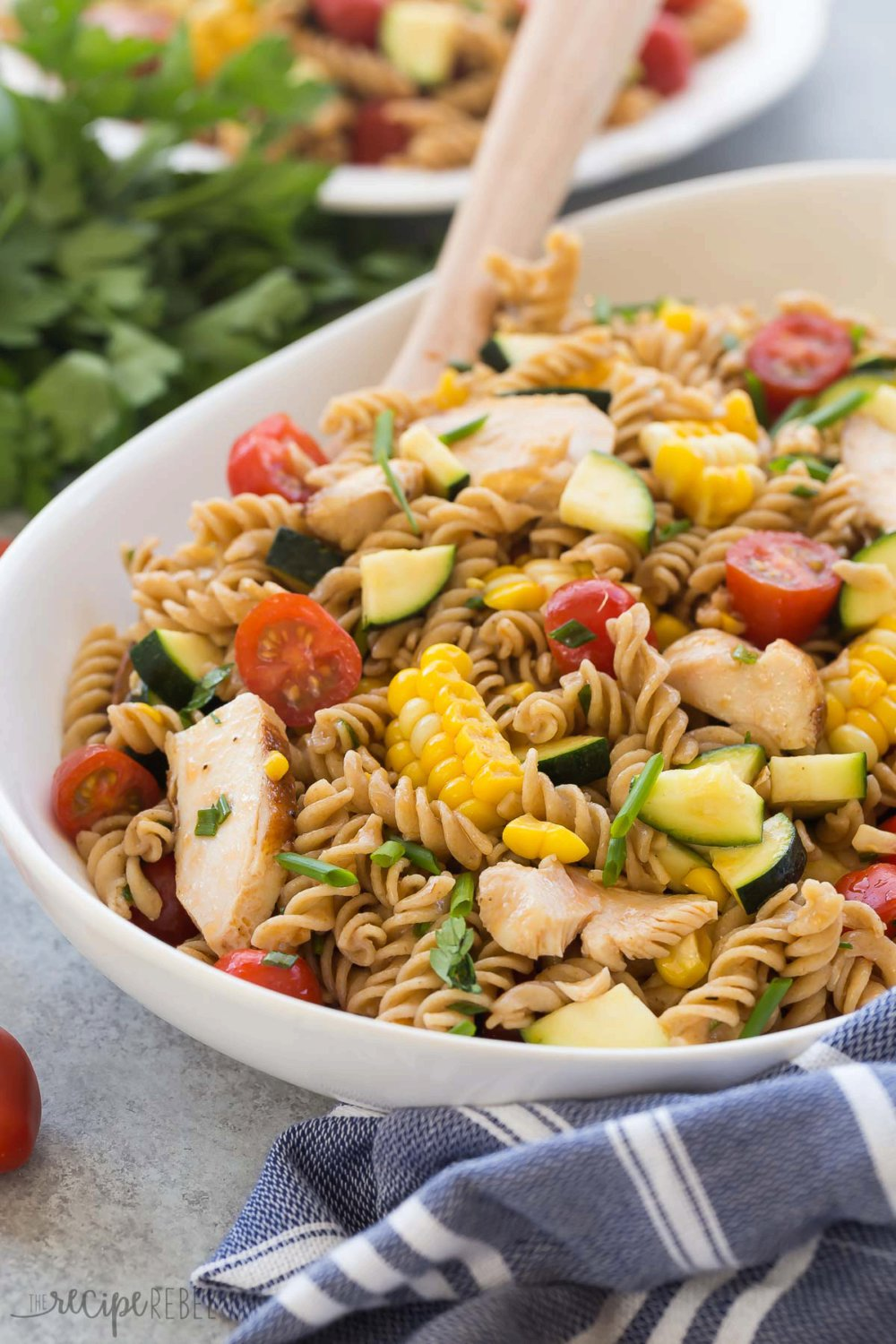 BBQ Chicken Pasta Salad with Tomatoes, Zucchini and Corn