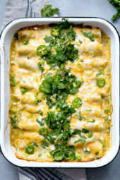 Chicken and White Bean Enchiladas with Creamy Green Chile Sauce