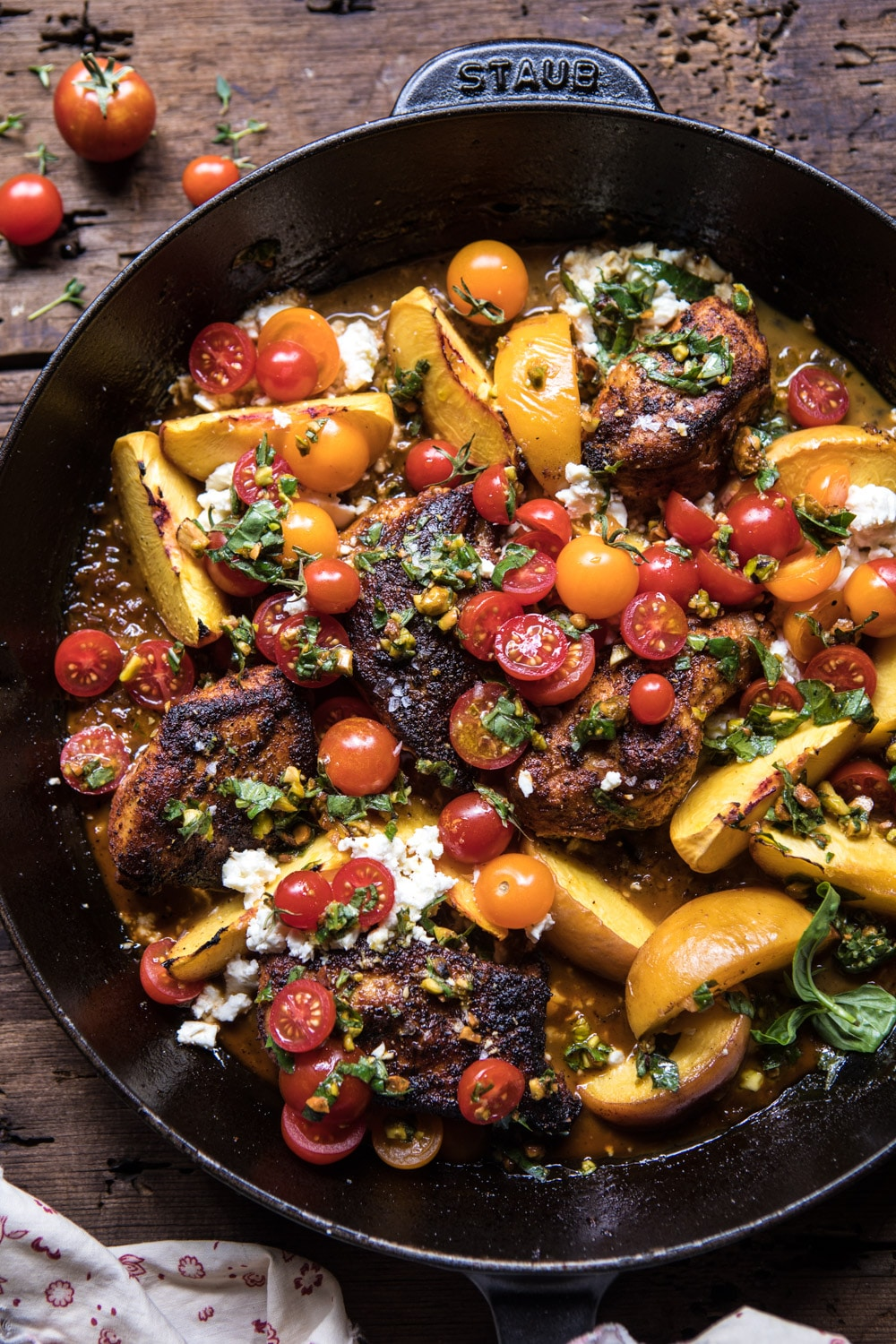 Skillet Moroccan Chicken with Tomatoes, Peaches, and Feta