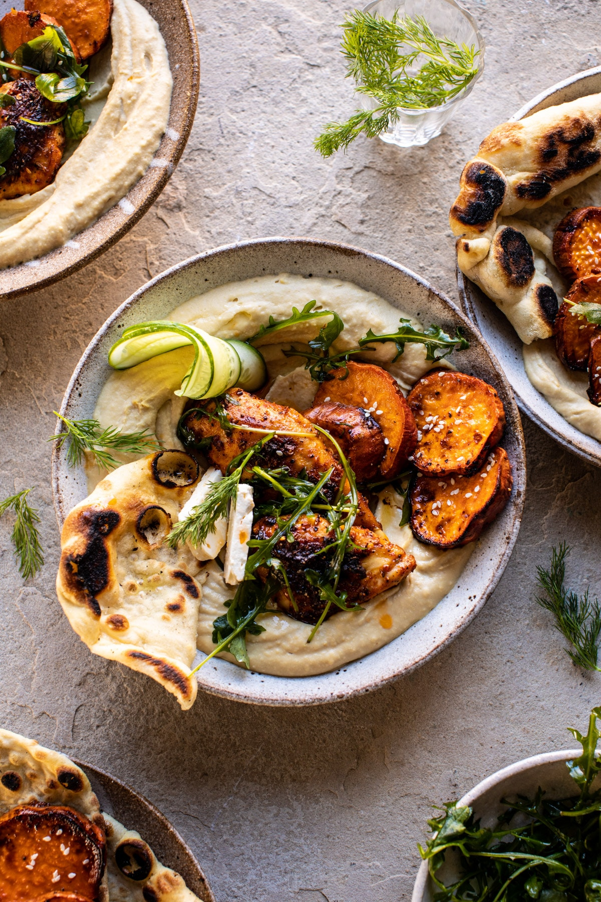 Sheet Pan Chicken Shawarma with Sesame Sweet Potatoes and Hummus